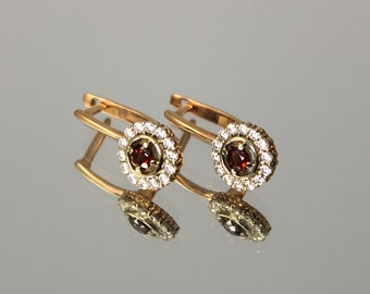 Garnet earrings, Gold earrings, Women earrings, Girls earrings, Gemstone earrings, Birthstone earrings, Gold garnet earrings