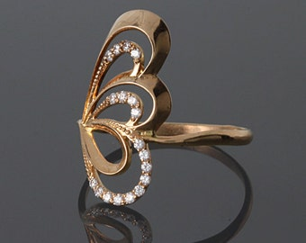 Woman gold ring, Wing ring, Unique gold ring, Unusual ring, Geometric ring, Fine gold ring, Elegant ring gold