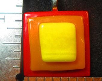 Red Orange Yellow Fused Glass Pendant