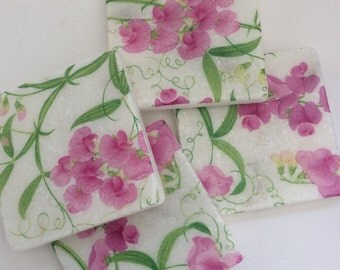 2 Marble Coasters~Sweet Pea/Floral/Pink