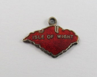Enameled Red Map Outline of The Isle of Wight at least .800 Silver Charm or Pendant.