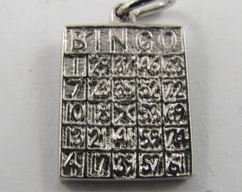 A Sterling Silver Charm of a Bingo Card. Are these your lucky numbers?