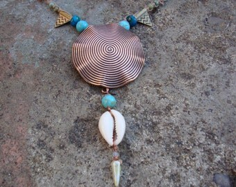 Tribal hemp macrame turquoise cowrie shell necklace