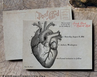 Anatomical Heart Save the Date wedding invitations, old fashioned scientific invitations, Victorian save the date cards, steampunk wedding