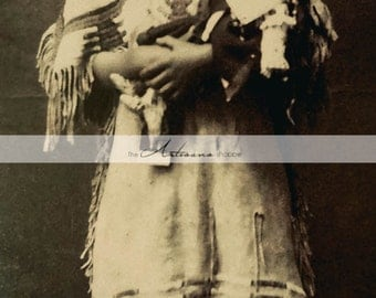 Instant Art Printable Download - Sioux Girl Native American Indian Girl & Doll Antique Photograph  - Paper Crafts Altered Art Scrapbooking