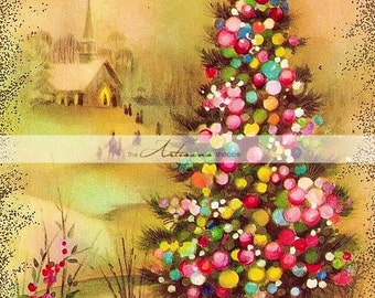 Printable Instant Download Art - Vintage Christmas Tree Card with Church - Christmas Card Image - Paper Crafts Scrapbooking Altered Art
