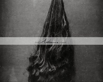 Digital Download Printable - Long Hair Hand Holding Girl's Hair - Paper Crafts Scrapbooking Altered Art - Vintage Odd Unusual Photography