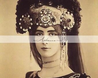 Instant Art Printable Download - Cleo de Merode Antique Photography Portrait - Paper Crafts Altered Art Scrapbook - Woman Head Dress Costume