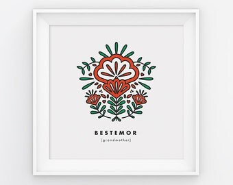 Grandmother, Bestemor, square print, Scandinavian, Mothers day, 8x8, Wall art, Norwegian, folk art