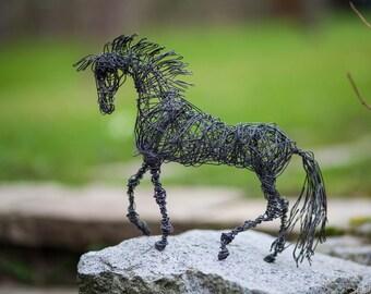 Metal Sculpture, Brass Horse Sculpture, Horse Art Decor, Rustic Centerpiece, Black Minimalist, Mini Figure, Contemporary Decor, Black Horse