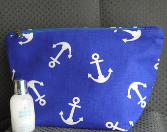 Anchors Away - Bright blue, washbag or make up cosmetics bag. Fathers Day gift handmade by Perfectly Fine Designs