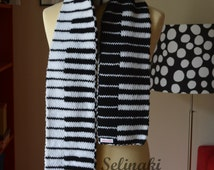 Knit Piano Scarf Black and White Keyboard