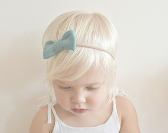 Baby Girl Headband - Teal Mini Bow Headband - Baby Headband