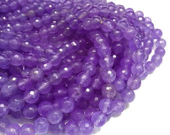 8mm Faceted Lavender Purple Mountain Jade Full Gemstone Strand (47 Round Beads)