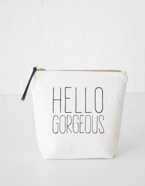 personalized makeup bag hello gorgeous  makeup organizer