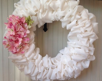 White burlap wreath, Mother's Day gift, spring burlap wreath, summer burlap wreath, wedding wreath, baby wreath, hydrangea wreath, floral