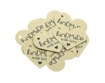 Handmade with Love Heart Tags, Rustic Heart Tags, Craft Labels, Product Packaging Tags, Cream, White, Ivory, Brown Kraft Tags, tagpress T005