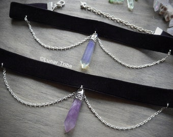Black velvet choker necklace with amethyst pendant, silver chains, rose quartz, black necklace,  birthstone january february october