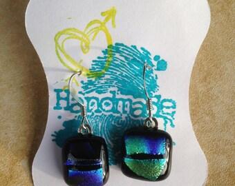 Dichroic fused glass dangle earrings tie-dye blue purple green black