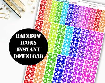 Rainbow Icon Printable Planner Stickers // Erin Condren Life Planner / Kikki / Plum Paper Planner / Midori Insert / Icon Stickers 00135