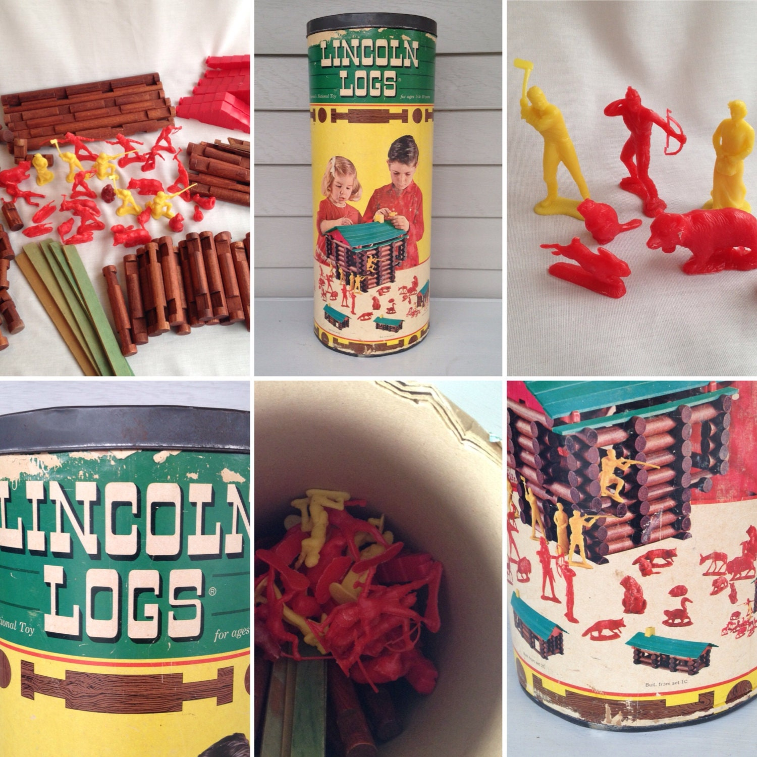 Original Set Of Lincoln Logs 1960s Retro Toy Made In Usa