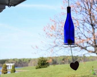 Cobalt Blue Wine Bottle Wind Chime - Gift Ideas - Outdoor Decor - Yard Art - Garden Gift - Wine Bottle Decor - Wine Bottle Chime - Windchime