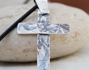 Men's cross necklace, Oxidized sterling silver cross ,Silver Cross Necklace,Cross Necklace with genuine leather black cord ,Christian cross