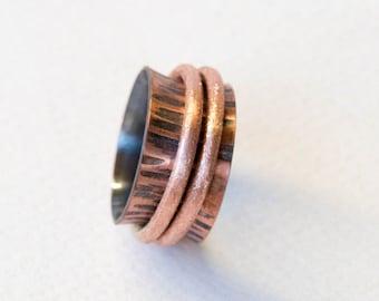 Spinner ring ,  hammered spinner ring , hammered band ring , simple ring , 2 bands spinner ring , copper spinner ring , mens ring, Handmade