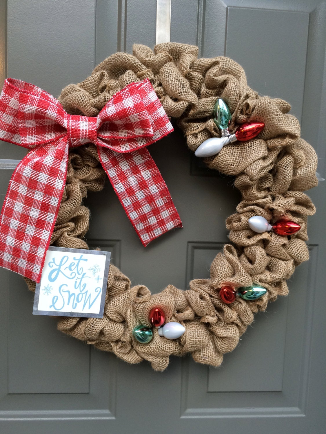 Christmas wreath burlap christmas wreath christmas light for Burlap wreath with lights