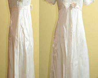 White Satin and Lace Wedding / Special Occasion Dress, 1960s, size 4, 6