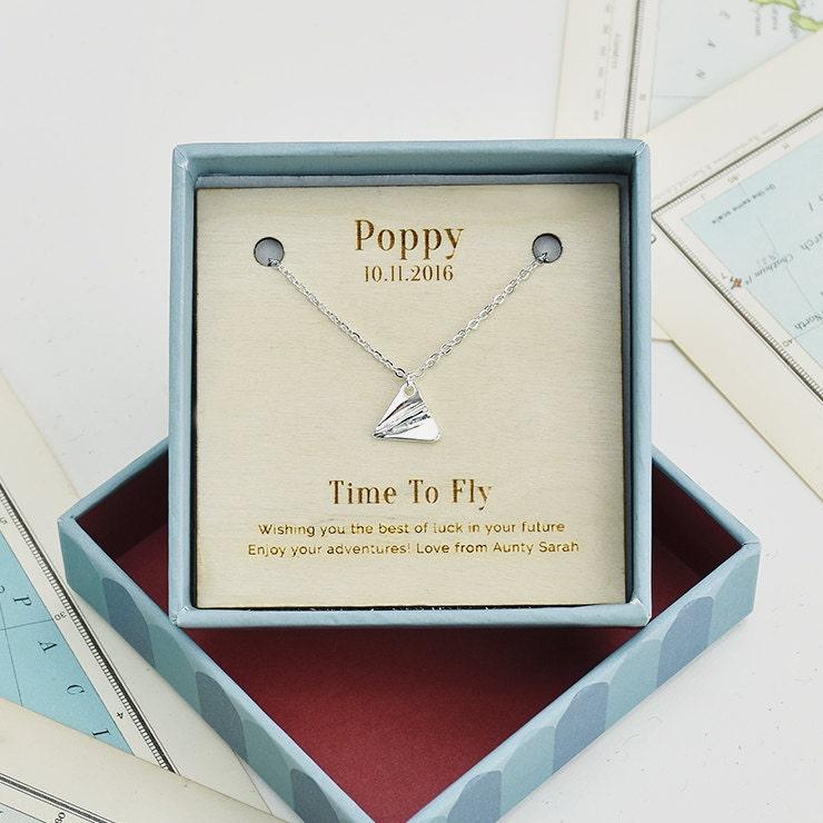 time to fly personalisiert silberkette abitur geschenk. Black Bedroom Furniture Sets. Home Design Ideas
