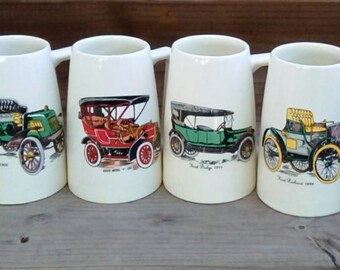 Vintage Hyalyn USA Antique Car Mugs/Tankards, Pottery