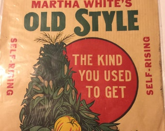 Vintage Martha Whites Old Style White Corn Meal Paper Bag- 10 lb bag