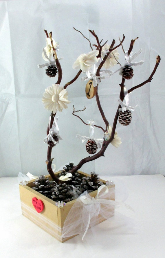 Manzanita tree white wedding centerpiece