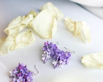FLOWER earrings - lilac earrings -  polymer clay earrings - floral jewelry-  polymer clay jewelry - cute earrings - violet flower jewelry