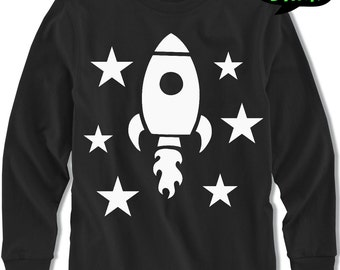 Long sleeve GLOW in the dark Space t shirt, baby t shirt, Space ship tshirt , birthday gift,glow in the dark clothes, GIFT