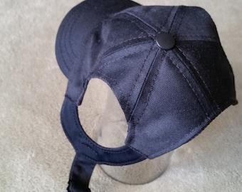 Dog Basebll Cap.Sun Protective. Black Twill Fabric. Side Closure; Custom Spandex Shape and strap with snaps. Made to Measure for Any Dog.