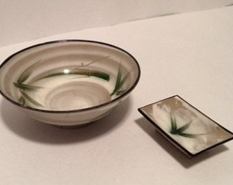 HAND PAINTED JAPANESE Rice Bowl and Sauce Dish