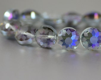 Etched Chinese Crystal Star Design Faceted Puffy Coins Heliotrope Gray 13mm