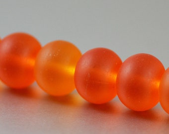 Recycled Cultured Sea Glass  Rondelle Beads Tangerine Orange 14x11mm