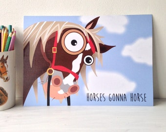 Cheeky horse illustration wall art print - Unique and fun gift for horse lovers birthday A4 print. Ready to ship