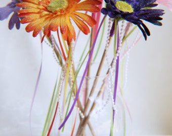 Glittered Flower Fairy Wands // Fairy party decorations //  Fairy Party Favors