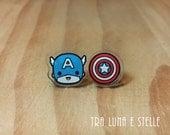 Stud earrings Captain America and shield, superhero Avengers, Marvel comics - cute kawaii