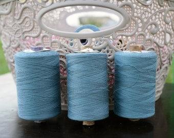 Vintage Cotton Thread Spool, Blue Soviet Thread, Vintage Sewing Room Decor, Bobbin Thread, Soviet Union Cotton Thread Retro Sewing Supplies