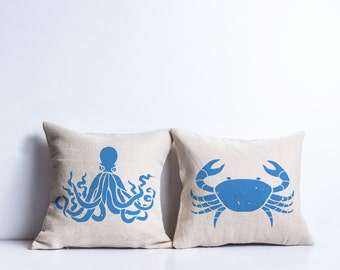 Nautical Decor Nautical pillows Nautical pillow covers Octopus pillow Crab Pillow