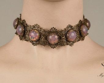 Pink fire elegant medieval renaissance choker-medieval choker-gothic choker-victorian choker-wedding-bridal-vintage