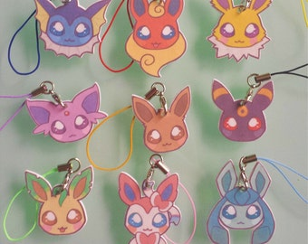 Eeveelution charms - pokemon inspired