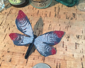 Black / Silver with Red Tips Butterfly Hair Clip / Decoration Clip