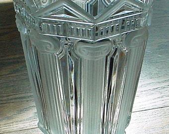 Genuine Lead Crystal Vintage Vase, West Germany, Roman Columns and Scrolls