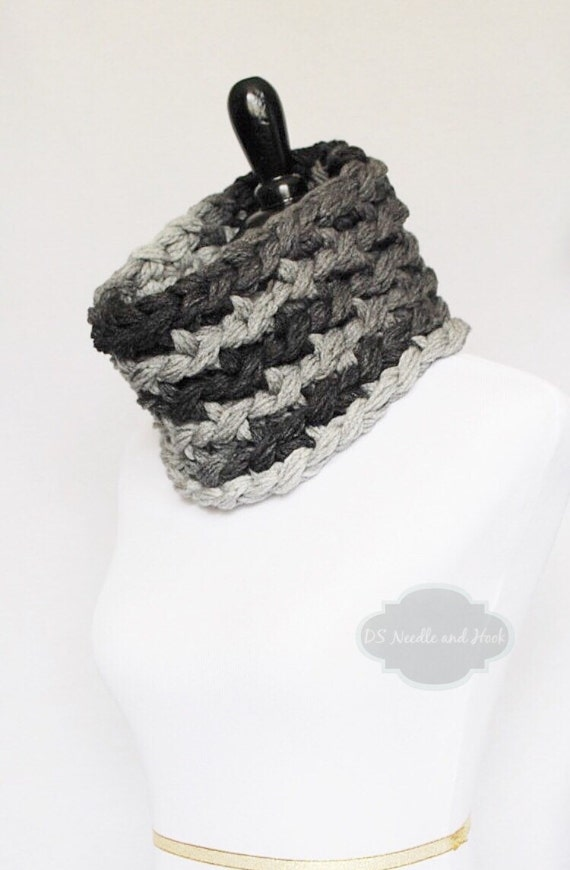SALE! Black and Grey Crochet Cowl, Super Chunky Gray and Black Neck Warmer, Short Infinity Collar Scarf